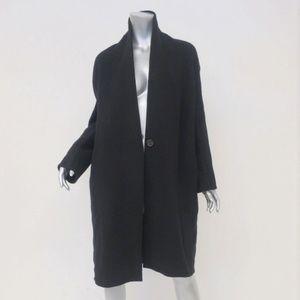 Vince High Collar V-Neck Coat Black Wool-Blend